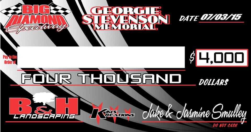 Tonight is the B&H Landscaping, Georgie/George Stevenson Memorial!
